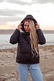Куртка женская осенняя зимняя короткая с капюшоном, фото 9