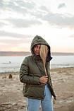Куртка женская осенняя зимняя короткая с капюшоном, фото 8