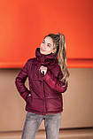 Куртка женская осенняя зимняя короткая с капюшоном, фото 4