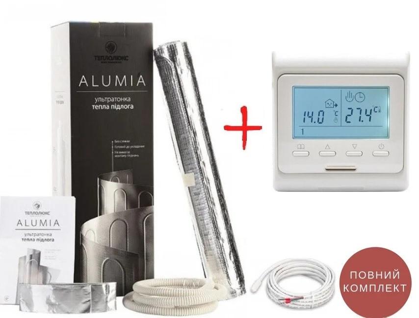 Підлога з підігрівом під ламінат Alumia 150 Вт/м2 12,0м2 1800Ват алюмінієвий нагрівальний мат +терморегулятор Е51
