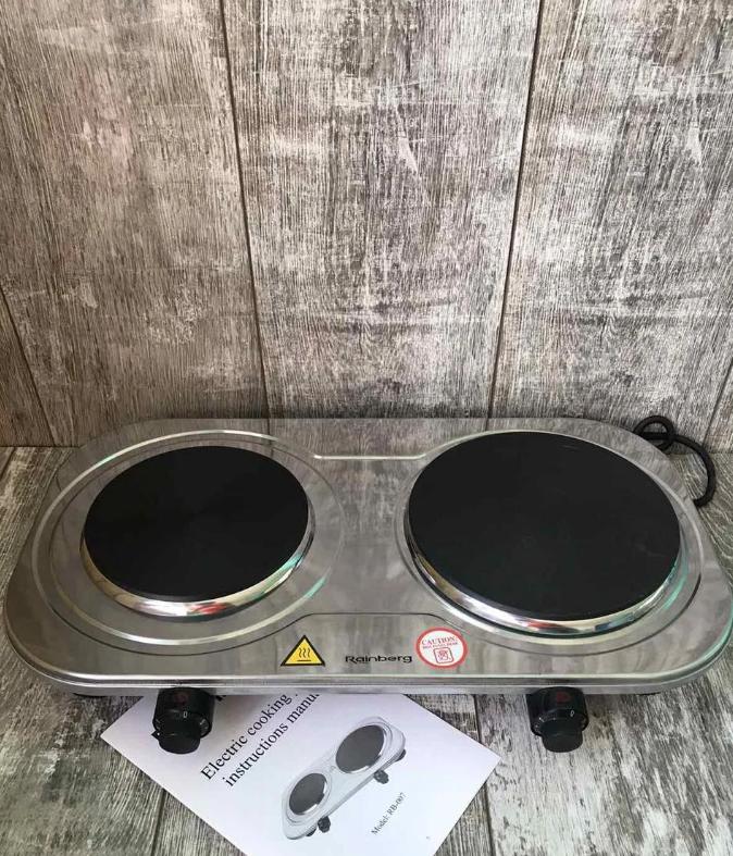Плита электрическая двухконфорочная дисковая Rainberg RB-007 из нержавеющей стали 3500Вт