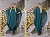 Стильный женский комбинезон с удлиненной блузой-пончо больших размеров