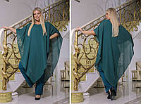 Стильный женский комбинезон с удлиненной блузой-пончо больших размеров, фото 1