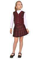 """Костюм школьный для девочки с юбкой и жилетом м-471 рост 152 бордо. Последний размер на складе! тм """"Попелюшка"""", фото 1"""