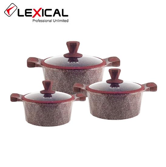Набор кастрюль 20/24/28см LEXICAL LG-340601-4 антипригарное гранитное покрытие, 6 предметов, Red