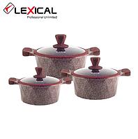 Набор кастрюль 20/24/28см LEXICAL LG-340601-4 антипригарное гранитное покрытие, 6 предметов, Red, фото 1