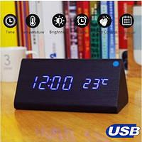 Настольные Электронные Часы в деревянном корпусе VST-861 черные,синяя подсветка