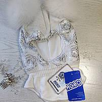 Шапка шлем для девочки Зимняя Размер 46-50 см Возраст 1-3 года Помпоны натуральный мех, фото 4