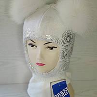 Шапка шлем для девочки Зимняя Размер 46-50 см Возраст 1-3 года Помпоны натуральный мех, фото 3