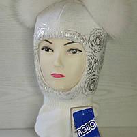 Шапка шлем для девочки Зимняя Размер 46-50 см Возраст 1-3 года Помпоны натуральный мех, фото 2