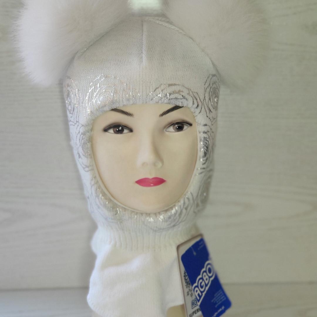 Шапка шлем для девочки Зимняя Размер 46-50 см Возраст 1-3 года Помпоны натуральный мех