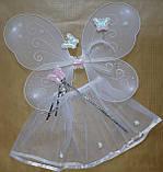 Карнавальный набор ( 4 предмета) для девочки Бабочка - фея - белая, фото 3