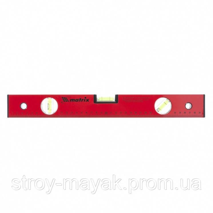 Уровень алюминиевый 400 мм, 3 глазка, красный, линейка, MTX