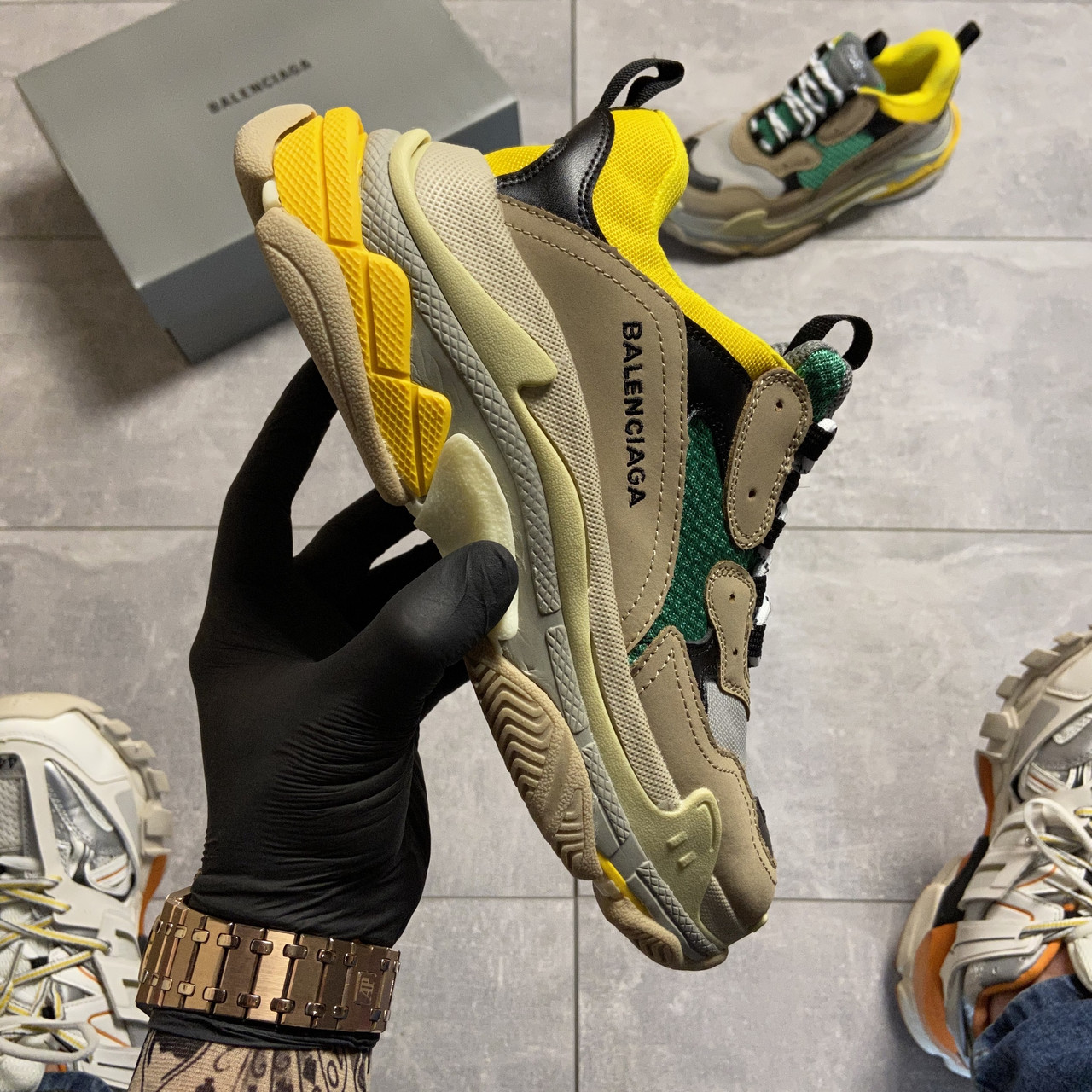Balenciaga Triple S Beige Yellow Green (Бежевый)