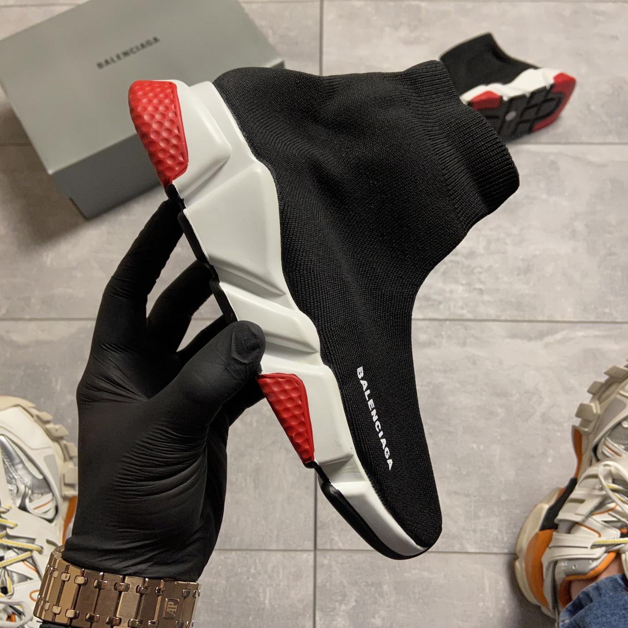 Balenciaga Speed Trainer Black and White/Red (Чёрный)