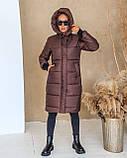 Куртка женская зимняя длинная тёплая с капюшоном, фото 9