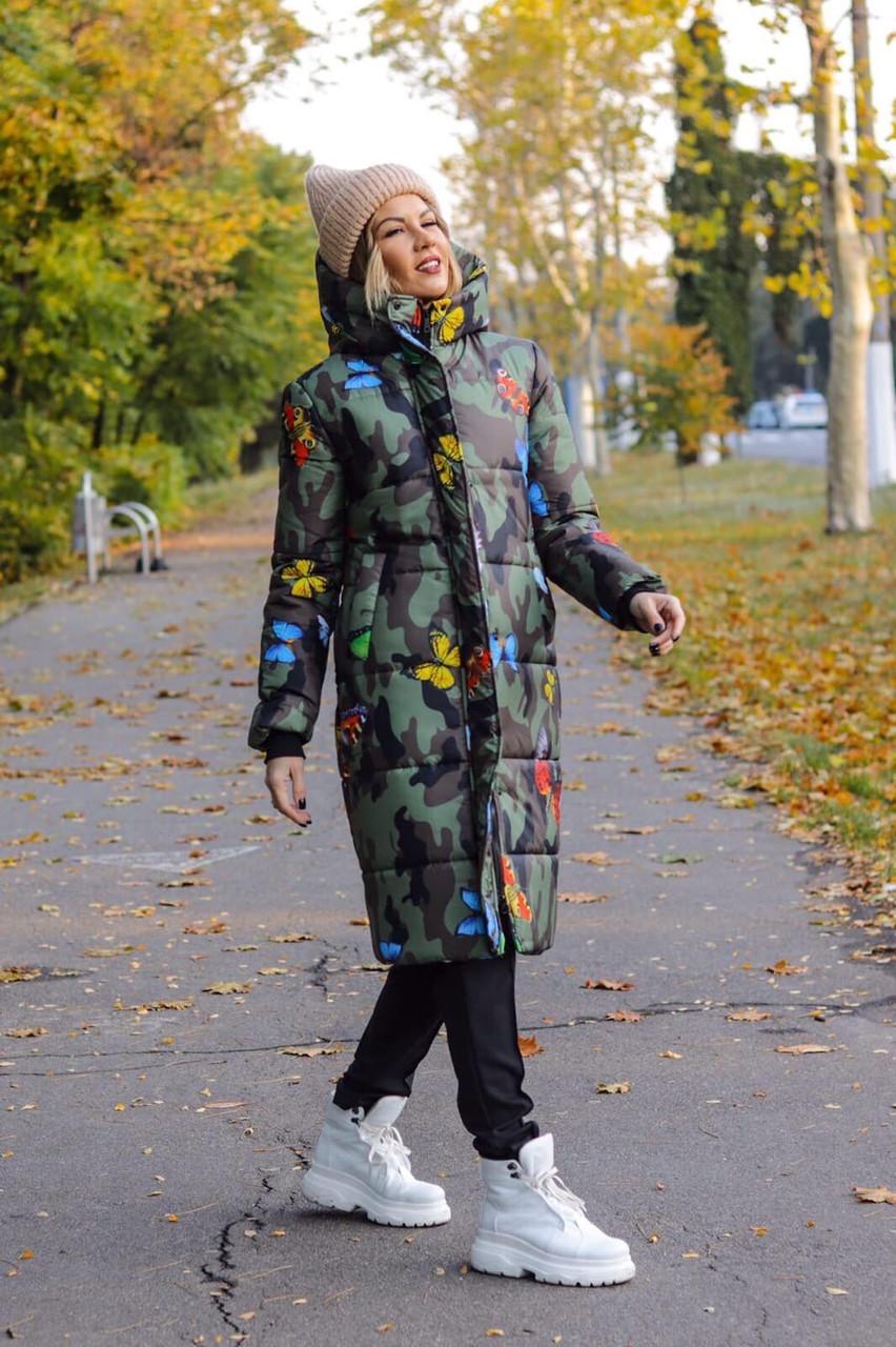 Куртка женская зимняя длинная тёплая с капюшоном