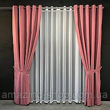 Комплект штор Petek на люверсах | Штори на люверсах | Шторы с подхватами | Розовые шторы с подхватами |