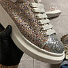 Alexander McQueen Lace-Up Glitter-Leather (Белый), фото 6