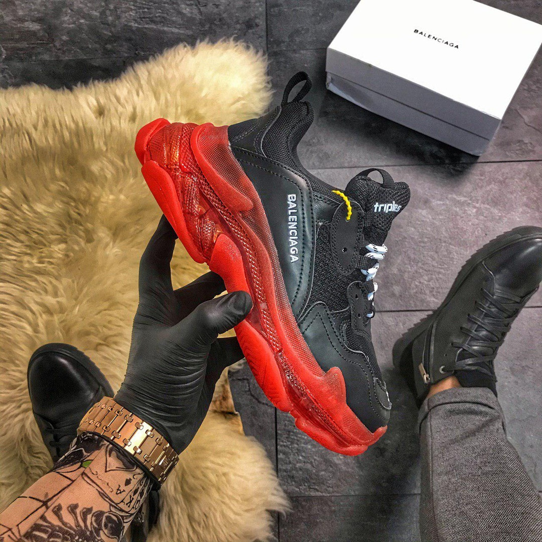 Balenciaga Triple S Clear Sole Black Red (Черный)