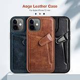 "Nillkin Apple iPhone 12 Mini (5.4"") Aoge Leather Case Blue Кожаный Чехол Бампер, фото 6"