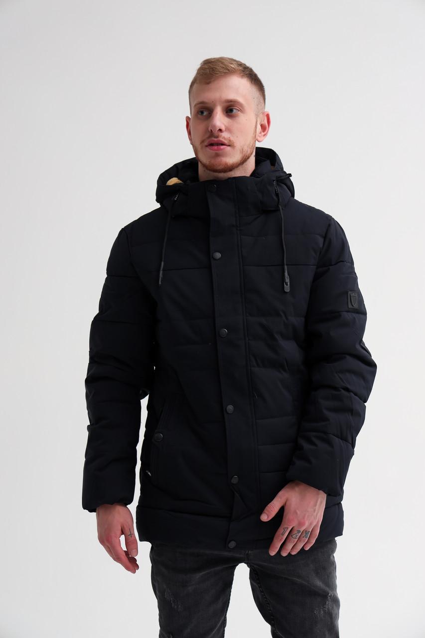 Мужская черная теплая зимняя куртка парка