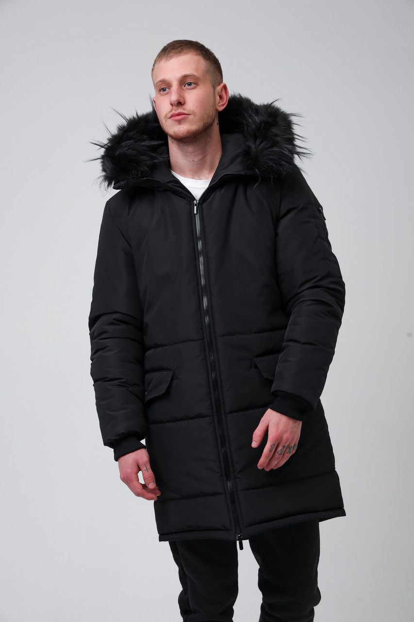 Мужская черная длинная зимняя куртка парка