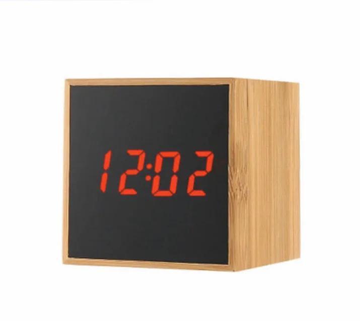 Стильные электронные часы куб TS-M01 под дерево Красная подсветка (300178RE)