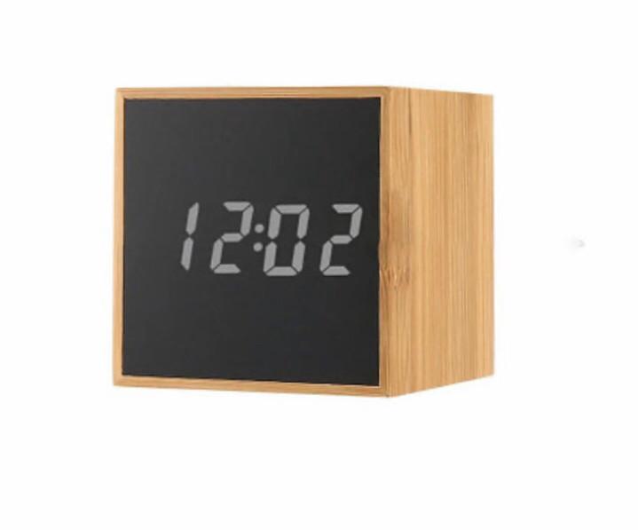 Стильні електронні годинники куб TS-M01 під дерево Біла підсвітка (300178WH)