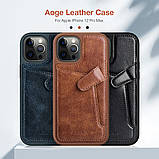 "Nillkin Apple iPhone 12 Pro Max (6.7"") Aoge Leather Case Black Кожаный Чехол Бампер, фото 5"