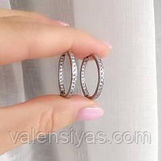 Серебряные серьги-кольца с фианитами Симпатия