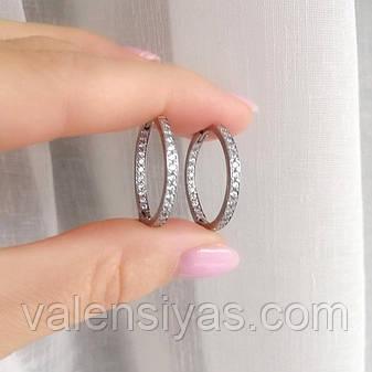 Серебряные серьги-кольца с фианитами Симпатия, фото 2