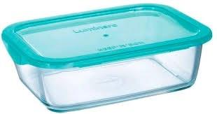 Емкость прямоугольная стеклянная Luminarc Keep`n`box 1220мл с пластиковой лазурной крышкой