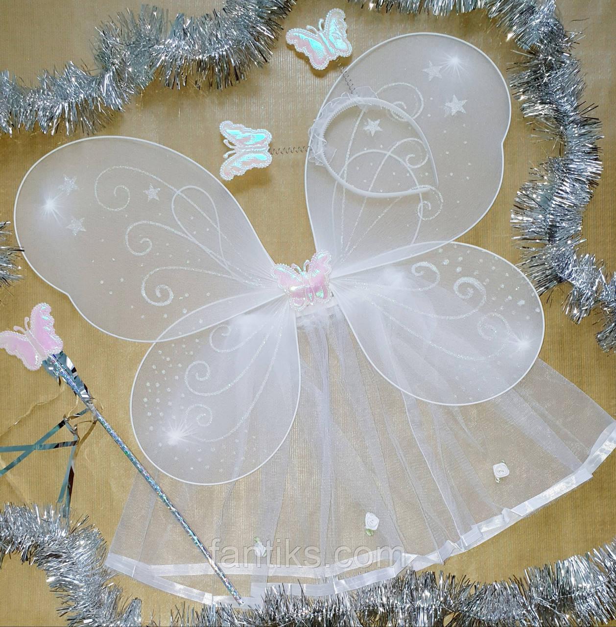 Карнавальный набор ( 4 предмета) для девочки Бабочка - фея - белая