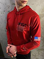 Мужская красная толстовка худи свитшот с капюшоном NASA