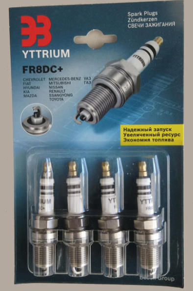 Свічки запалювання YTTRIUM FR8DC+ (компл. 4 шт. блістер) Nissan, Toyota, Renault, Mazda, Hyundai, FIat (KG-458)
