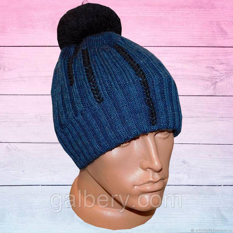 Зимняя шапка бини с помпоном