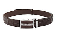 Ремень из кожи крокодила  Ekzotic Leather  Темно - коричневый (crb20)
