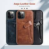 "Nillkin Apple iPhone 12/12 Pro (6.1"") Aoge Leather Case Brown Кожаный Чехол Бампер, фото 5"