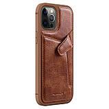 "Nillkin Apple iPhone 12/12 Pro (6.1"") Aoge Leather Case Brown Кожаный Чехол Бампер, фото 3"