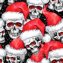 Новогодняя декоративная ткань черепа в шапках Деда Мороза 280 см