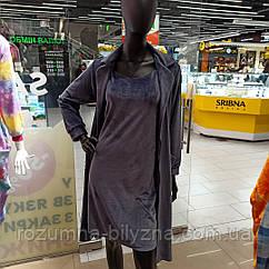 Комплект халат+сорочка велюр, темно синього кольору Tokyo. ТМ Komilfo.  XL. XXL