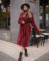 Зимнее пальто каракуль бордовое M
