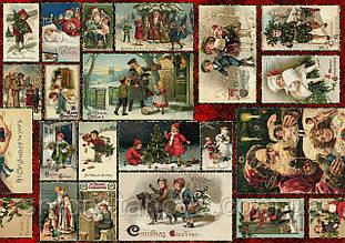 Новогодняя декоративная ткань с открытками на рождественскую тематику хлопок 100%