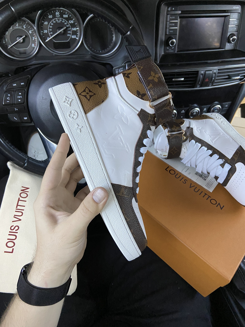 LV Sneakers High Brown White (Белый)