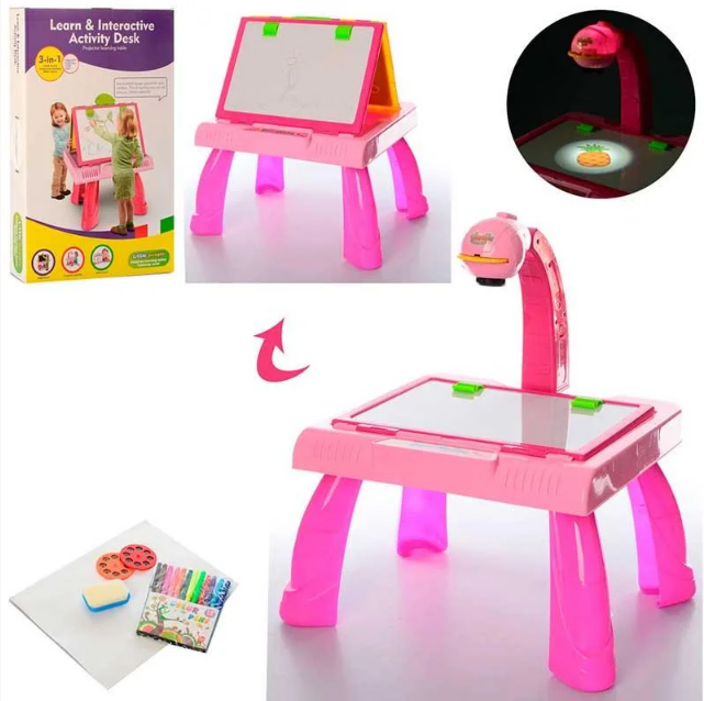 Детский столик-мольберт с проектором для девочки YM127, в комплекте идут маркеры и слайды, розовый