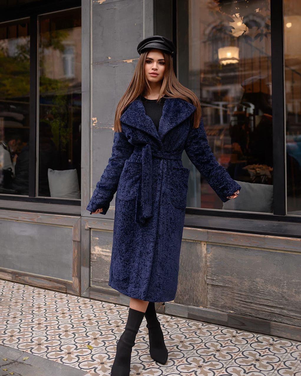 Зимнее пальто каракуль темно-синее