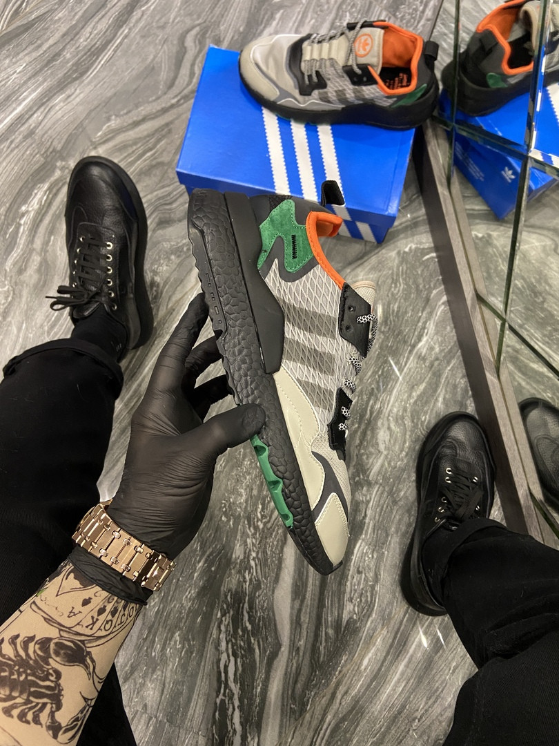 Adidas Nite Jogger Sesame Black Green (Серый)