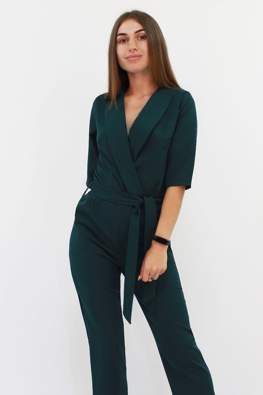 Нарядный женский комбинезон Evelin, темно-зеленый