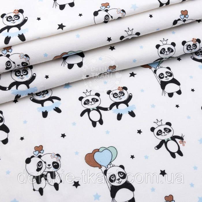 """Фланель детская """"Панды с голубыми шариками"""", ширина 240 см"""